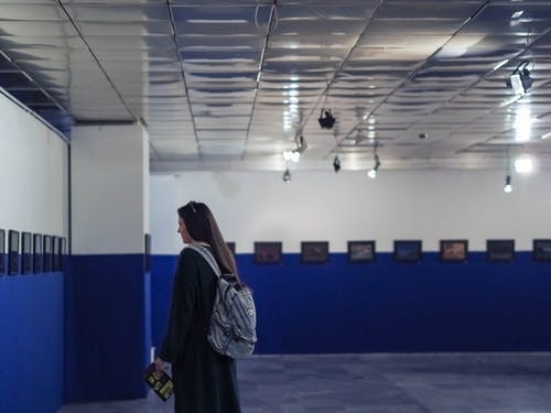 Free stock photo of art, art gallery, backpack, blue