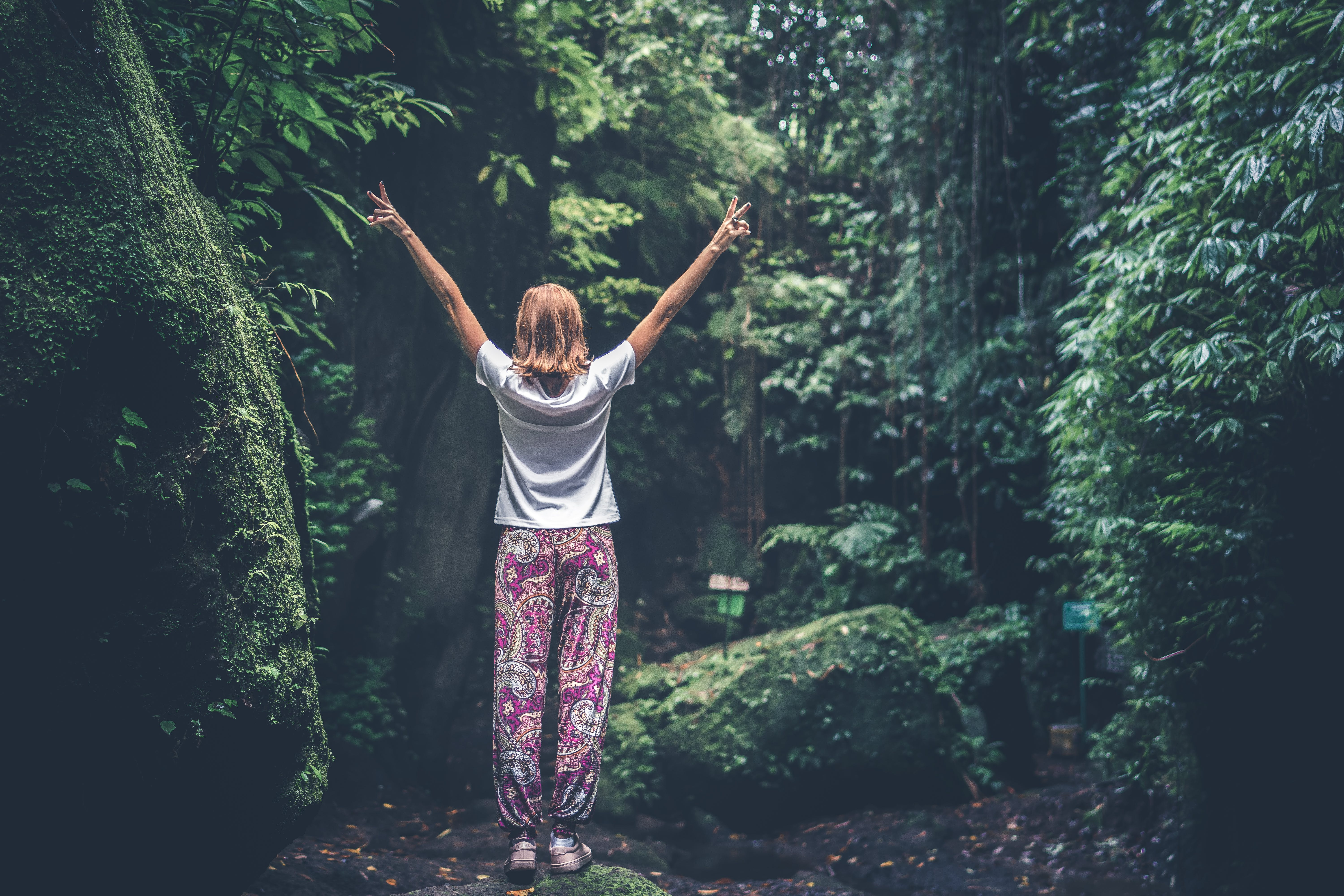 Woman With Raising Arms Facing Pathway Between Forest Trees
