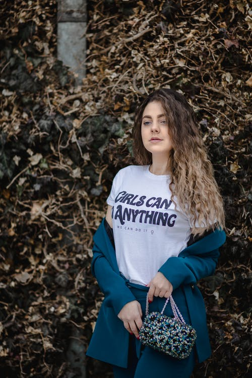 Woman in White Girl Can Do Anything-printed Crew-neck Shirt
