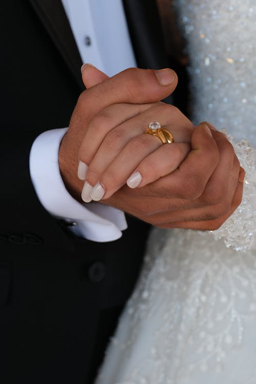 Close-Up View of Bride and Groom Holding Hands