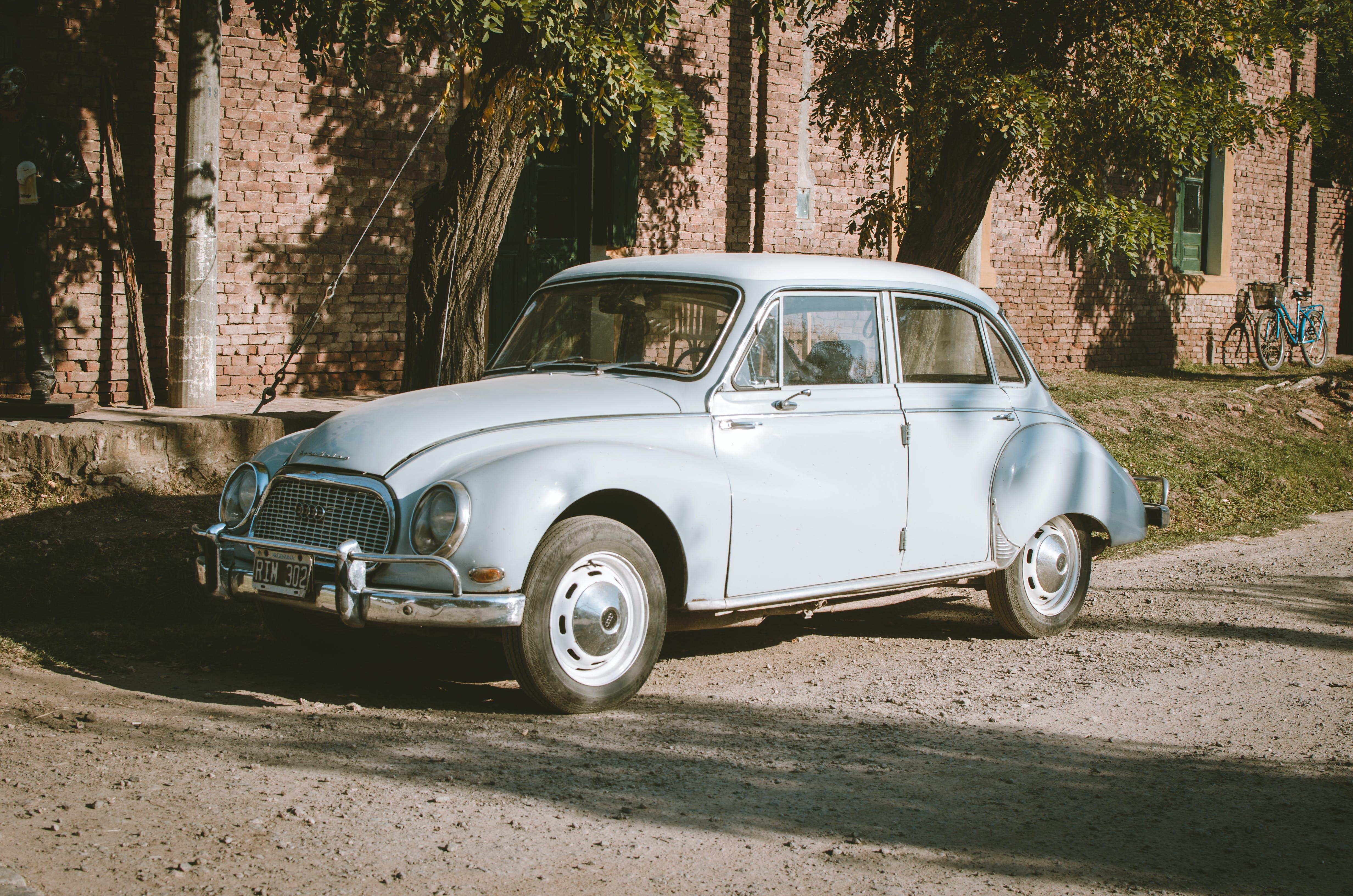 Classic Blue Sedan Near Green Leaf Trees at Daytime
