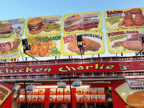 Free stock photo of county fair booth, fried foods