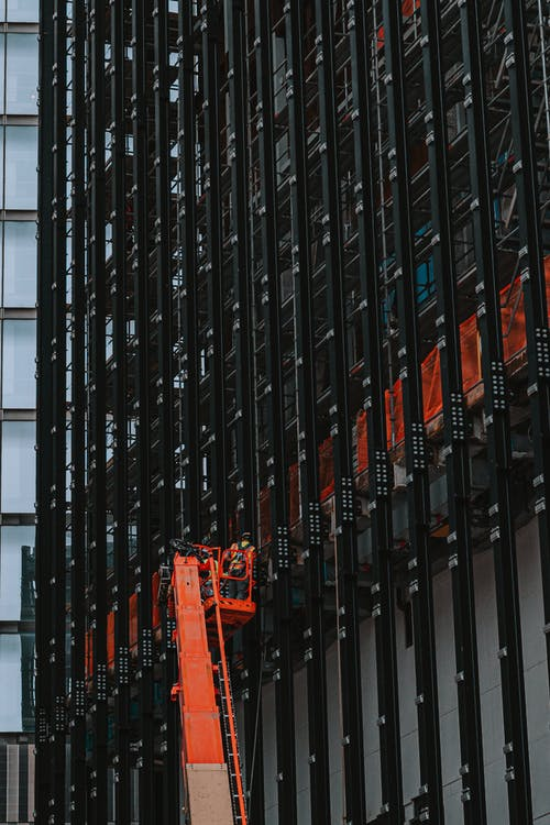 Construction Works on Building in City