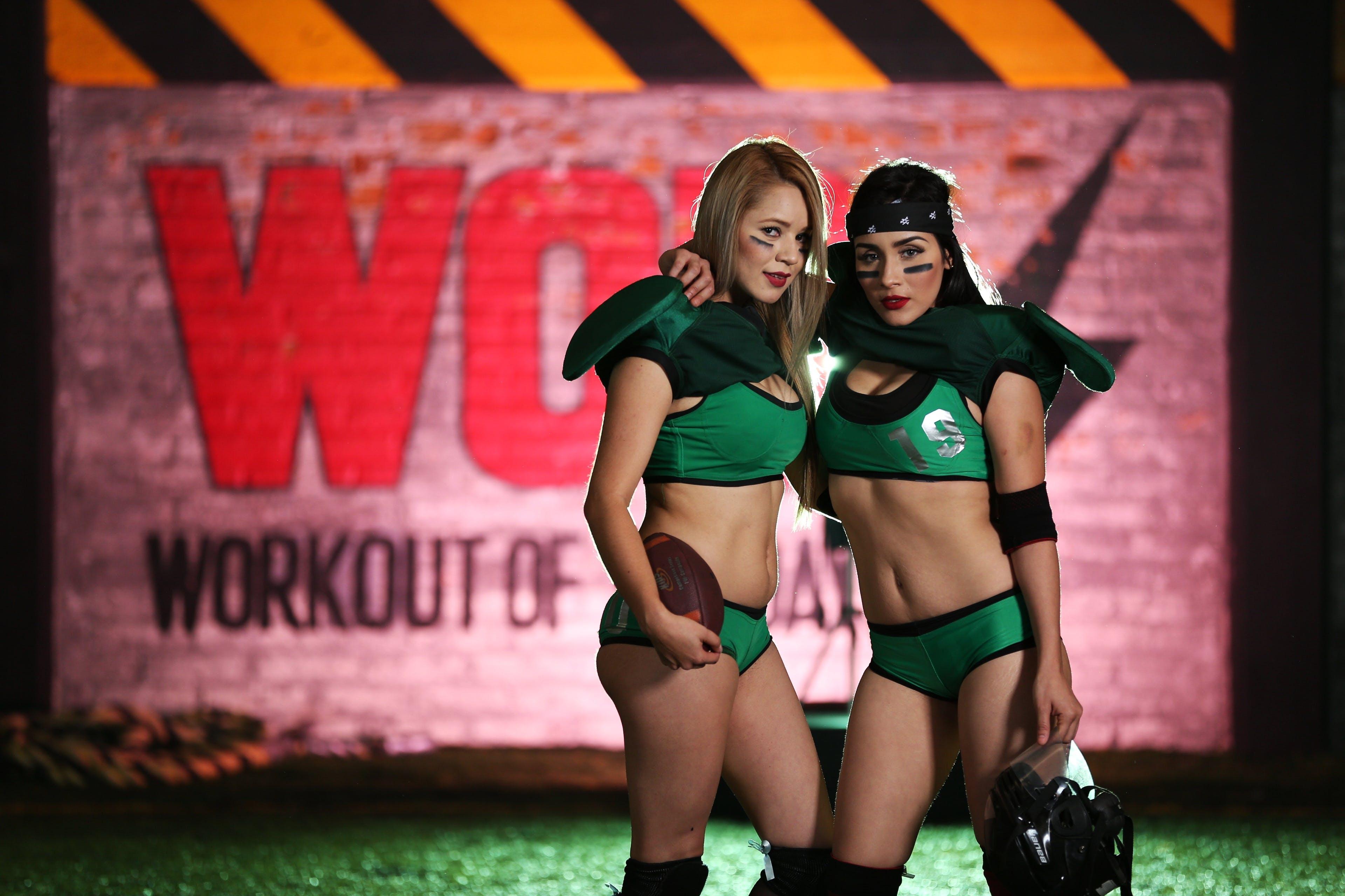 Women's Green and Black Sport Bra