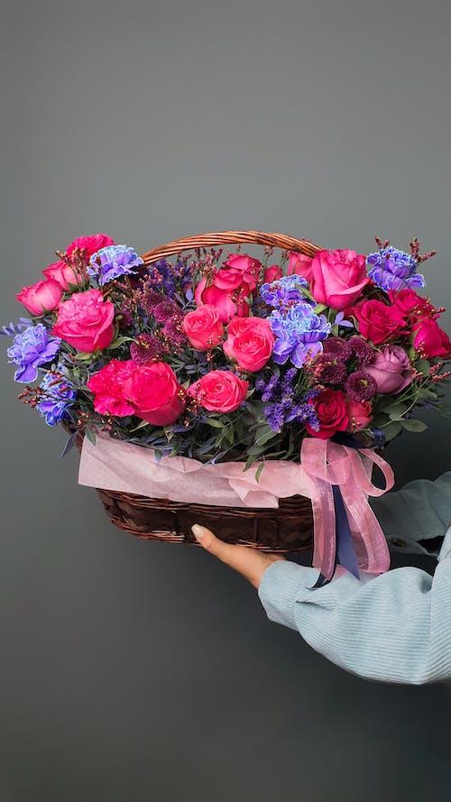 Foto stok gratis bunga, kaum wanita, keranjang
