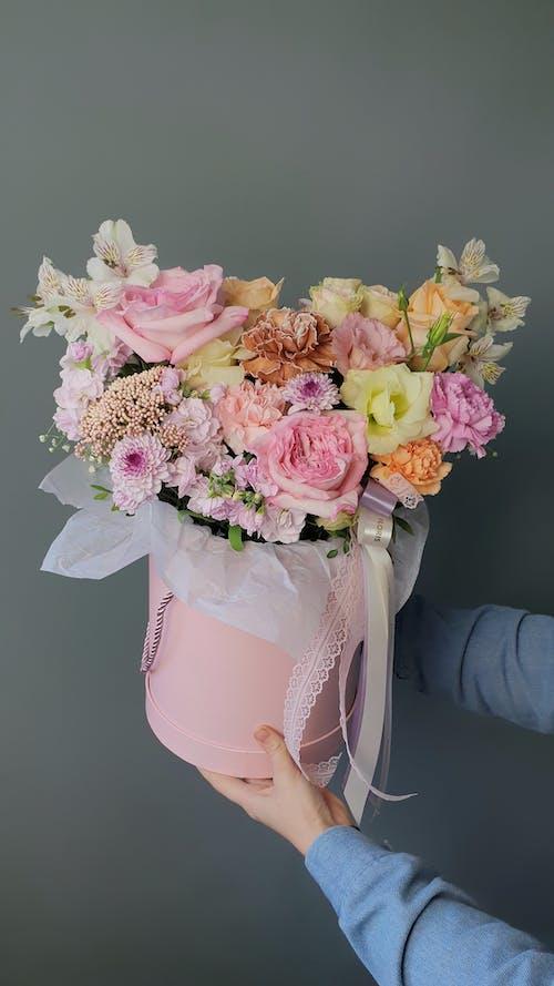 Photos gratuites de à l'intérieur, boîte à fleurs, bouquet