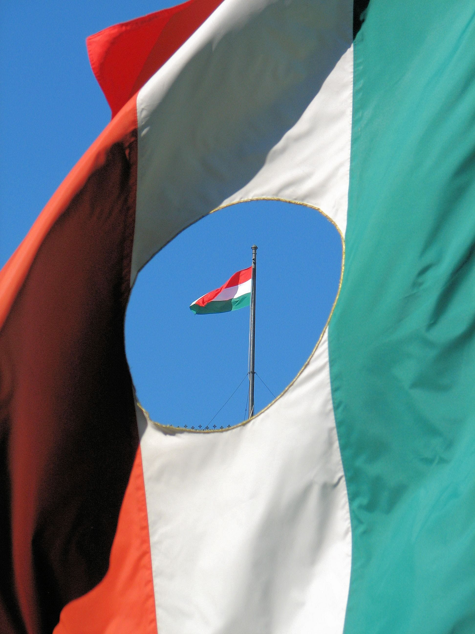 Free stock photo of 1956, Budapest, Flag with the Hole, Freedom Flag