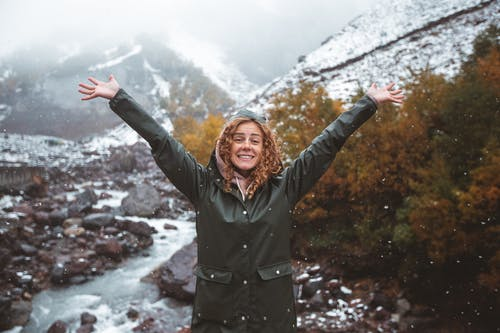 Happy Woman With Arms Up in Snowy Mountains