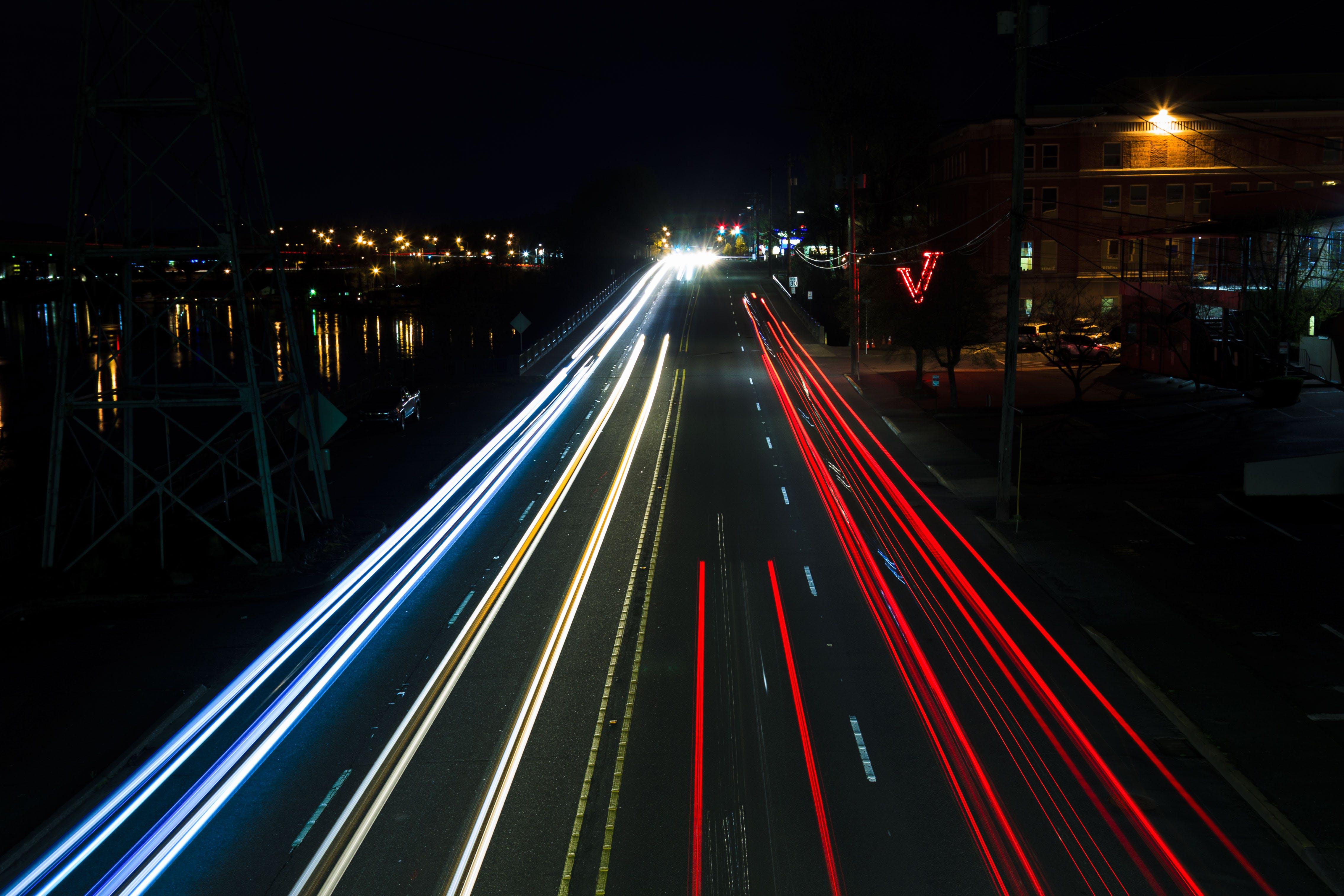 of cars, city, city lights, dark