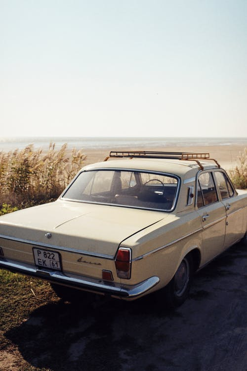 Rear View of Vintage Car