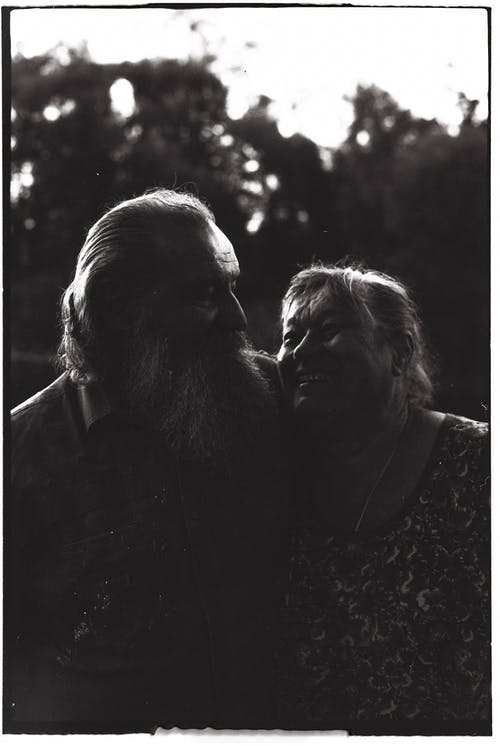 Black and White Photo of Old Married Couple