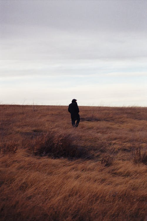 Person in Black Jacket Standing on Brown Grass Field