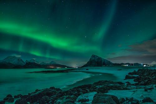 Green Aurora Lights over the Sea