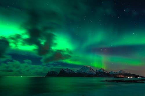 Green and Black Sky over Lake