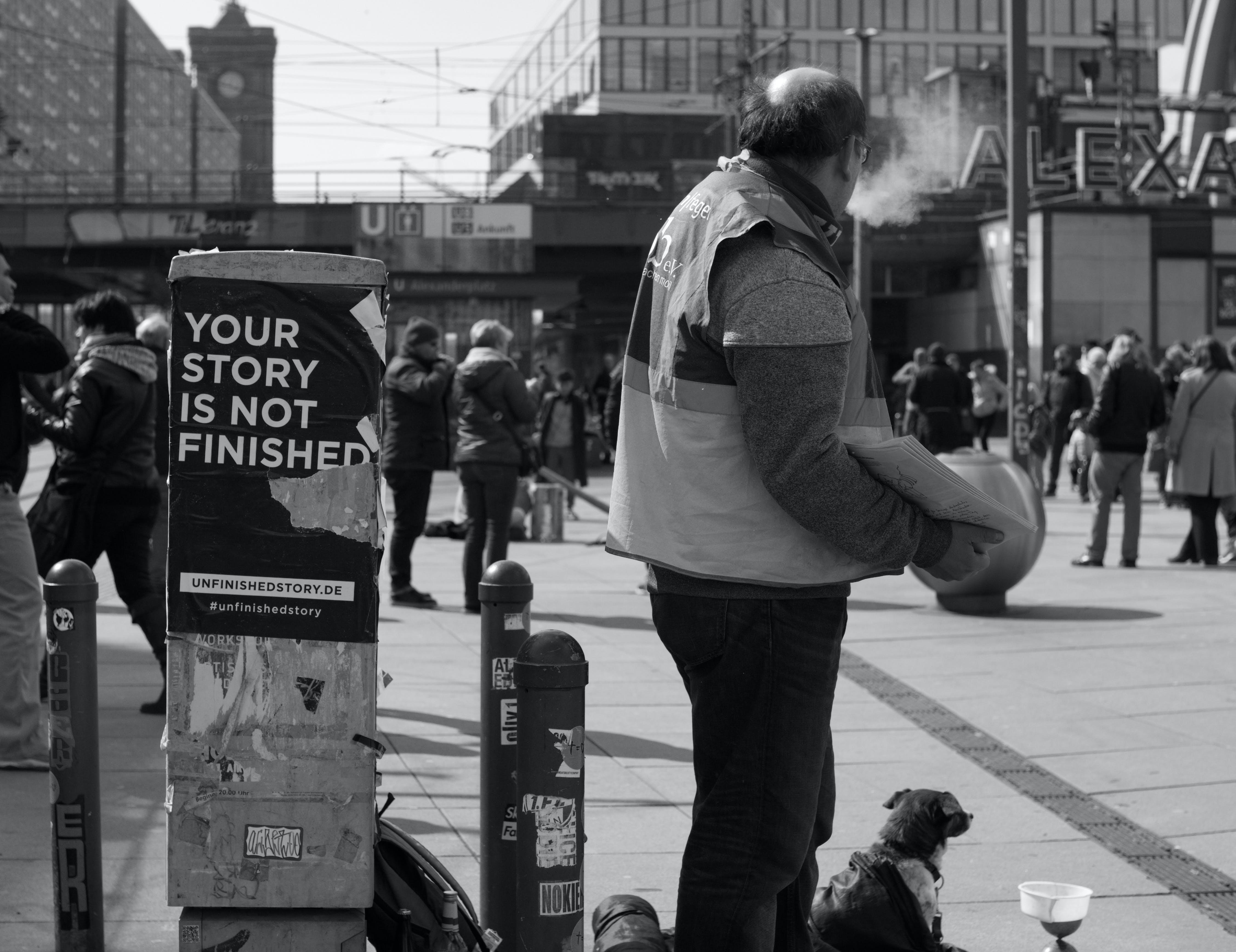 Free stock photo of Alexanderplatz, black and white, people, story
