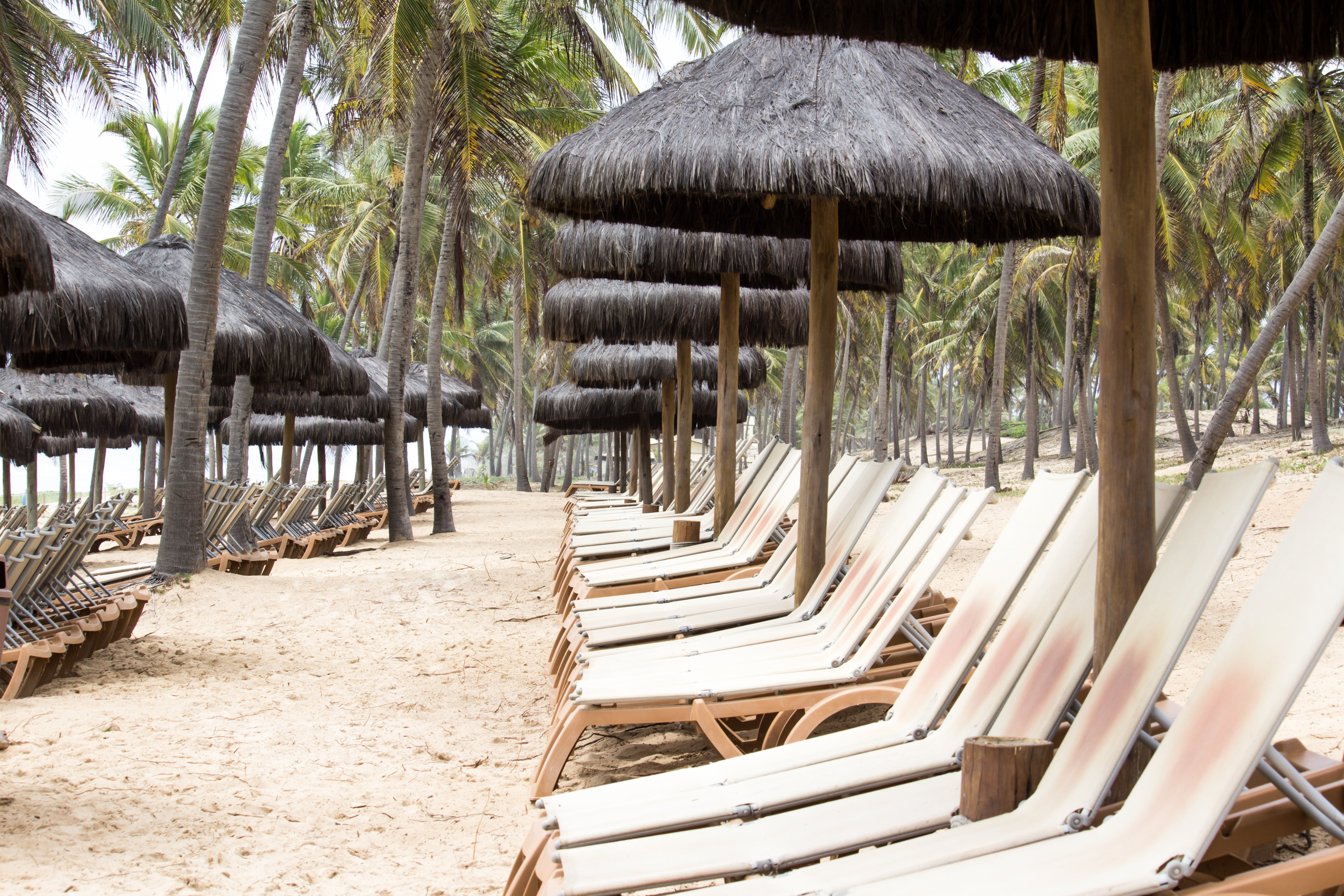 Free stock photo of allinclusive, beach, beach chairs, holidays