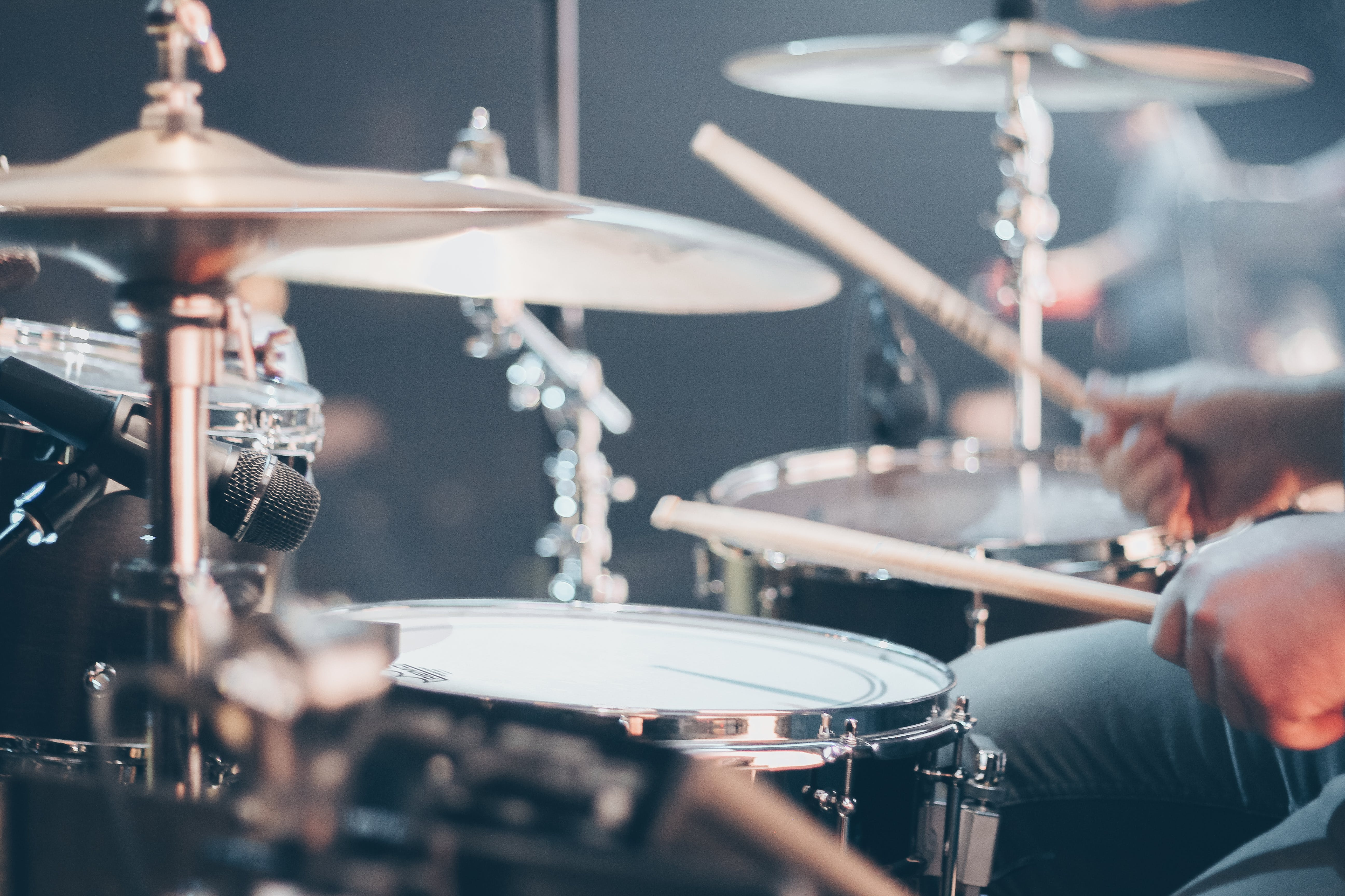 Pearl Orange Drumset In Tilt Shift Lens Free Stock Photo
