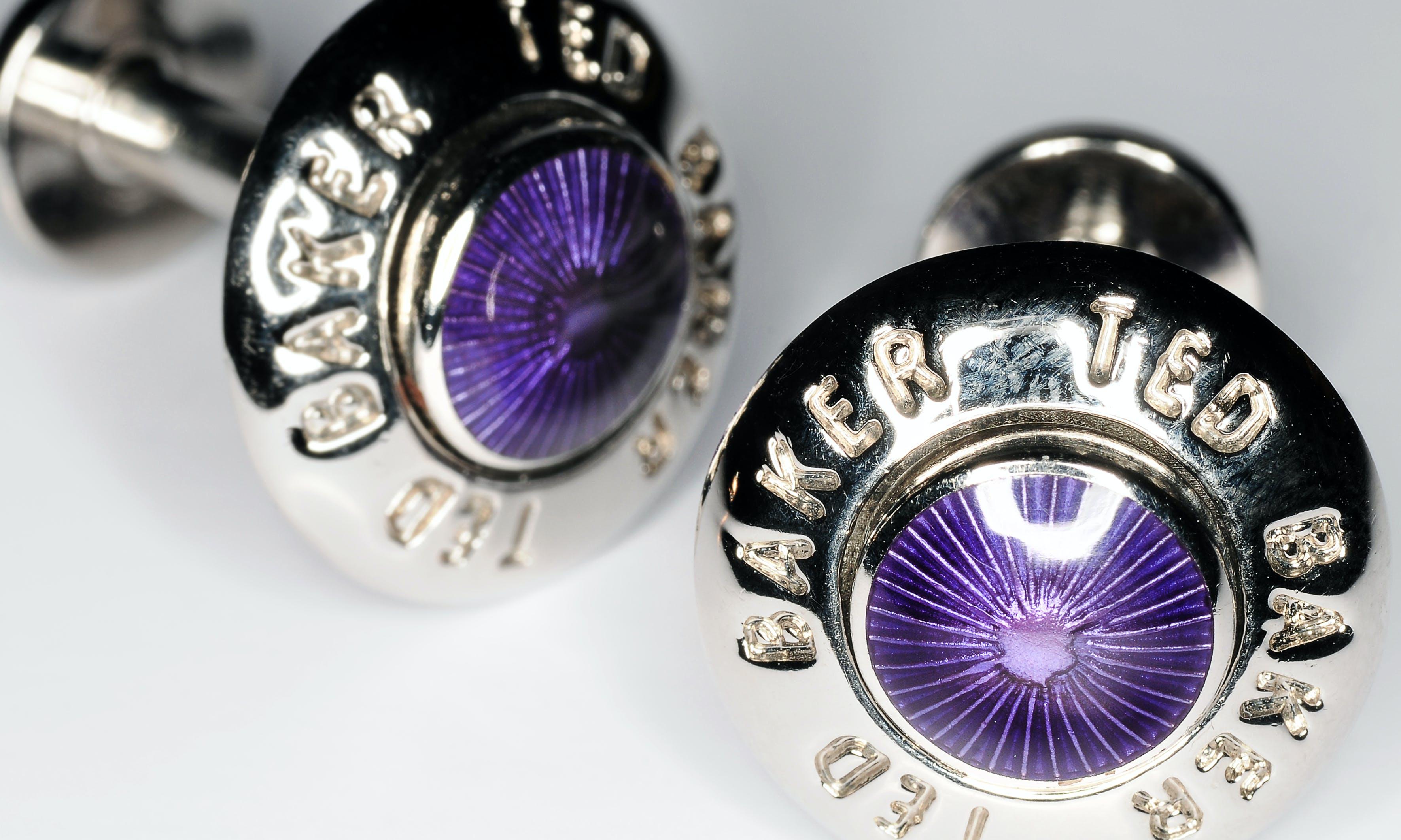 Free stock photo of Purple & Silver cufflinks