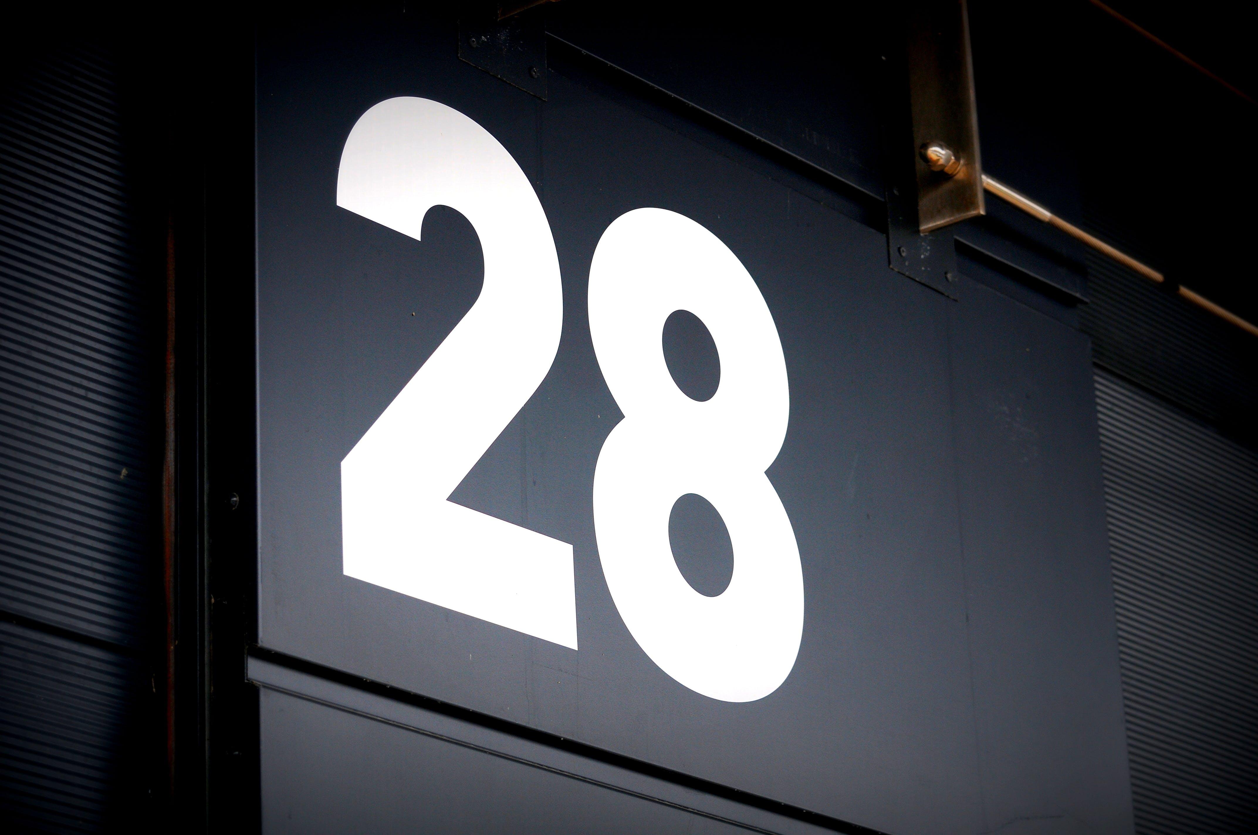 Black Board Showing Number 28