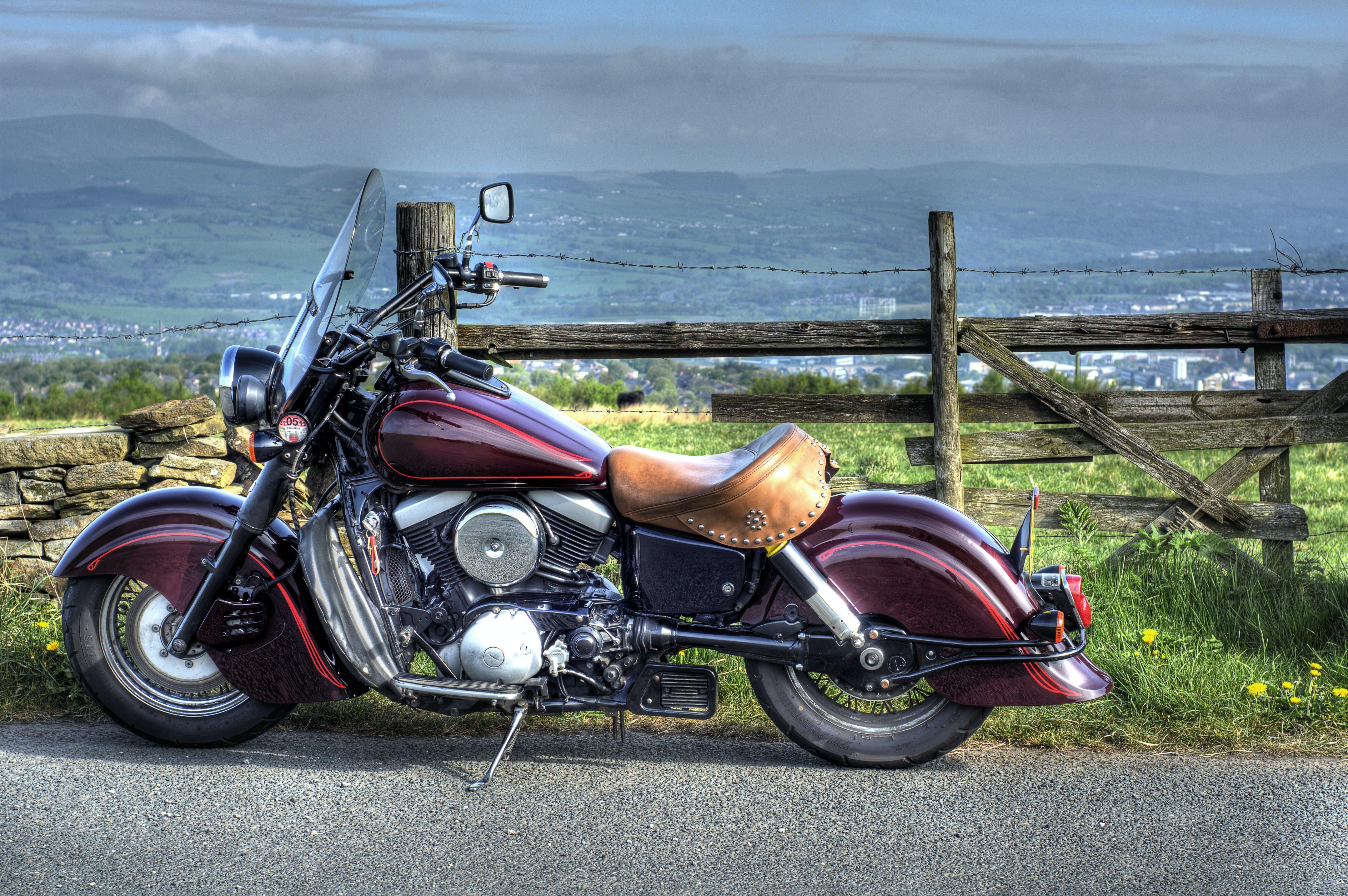 Free stock photo of burnley, harley davidson, motorbike, old fence