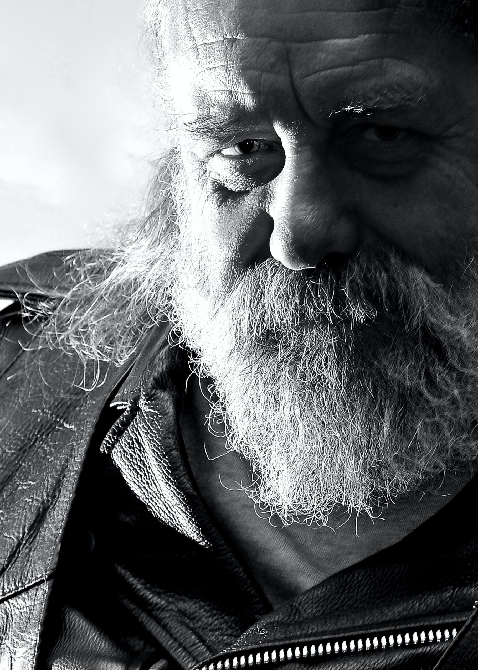 Free stock photo of beard, biker, grizzly, monochrome