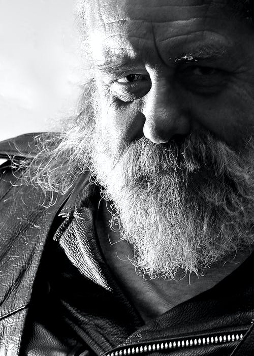 Immagine gratuita di grizzly, monocromatico, motociclista, ritratto