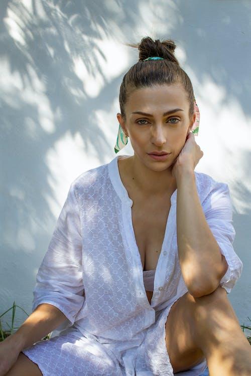 Portrait of Woman Wearing White Shirt