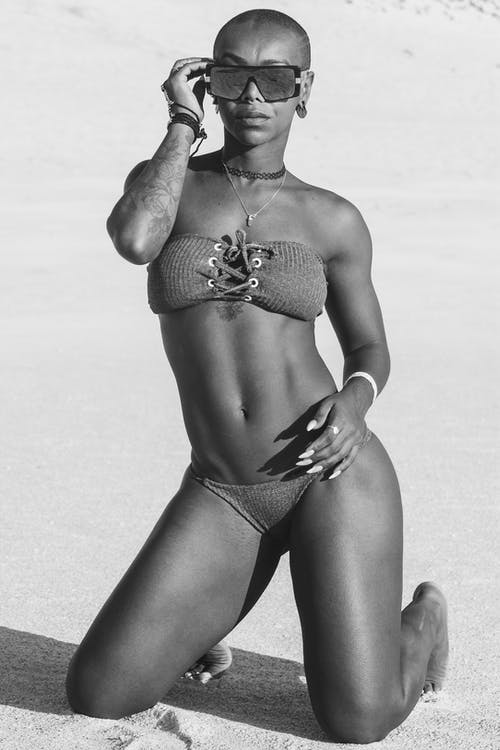 Black and White Picture of Woman on Beach