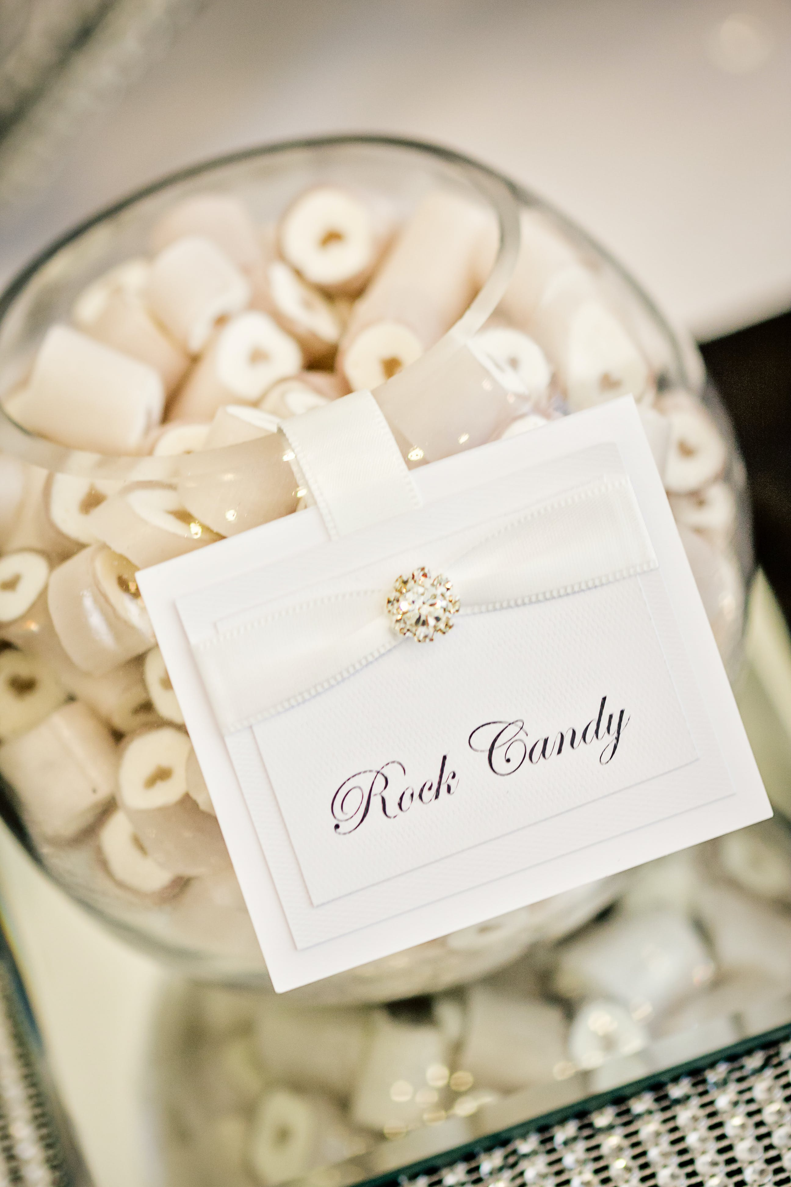 Glass Container With Rock Candy Card