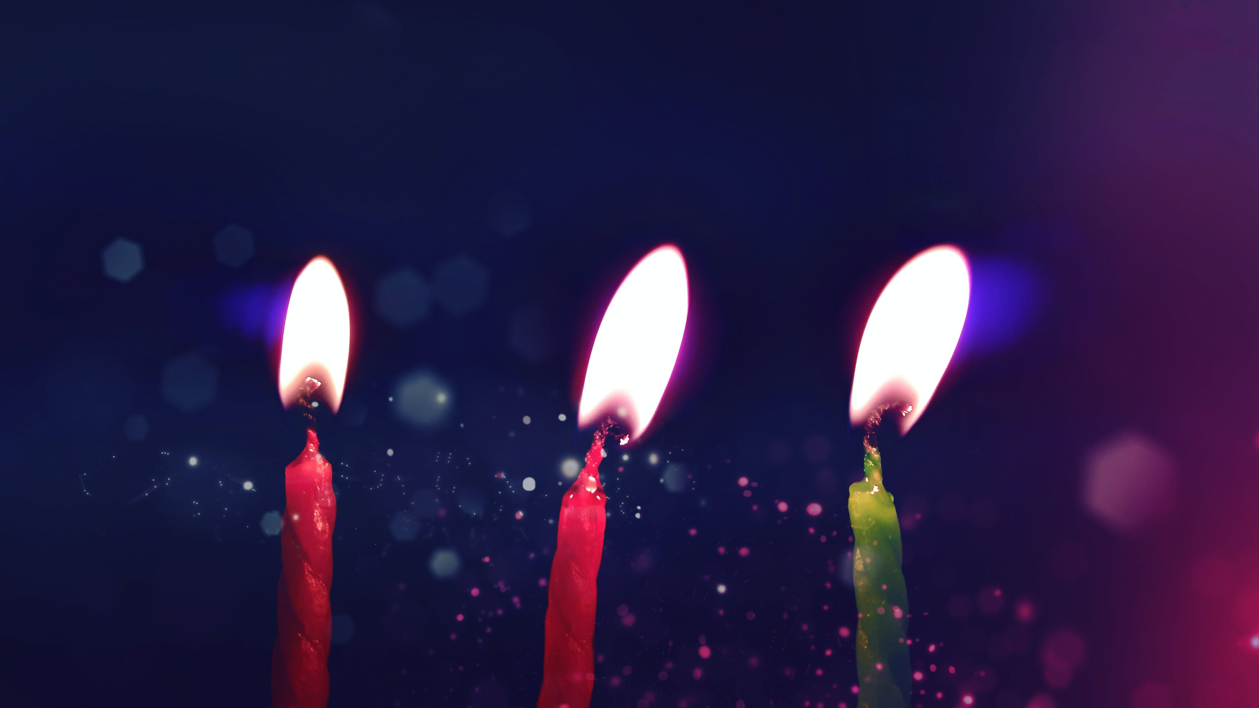 Red and Green Birthday Candle With Lights