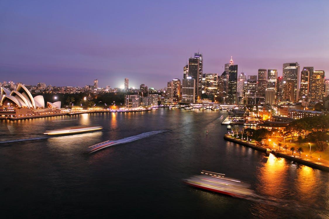 ánh đèn thành phố, bầu trời, bến tàu