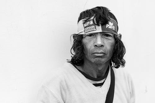 Black and White Portrait of Older Man