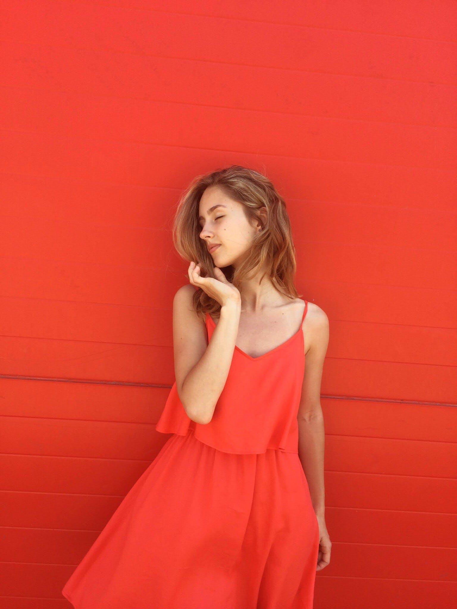 Woman Wearing Orange Spaghetti-strap Dress
