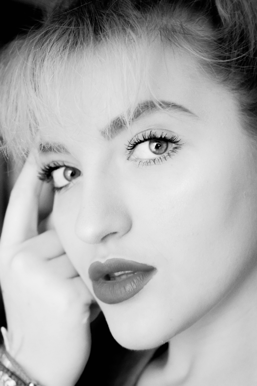 Grayscale Photography of Woman Wearing Lipstick