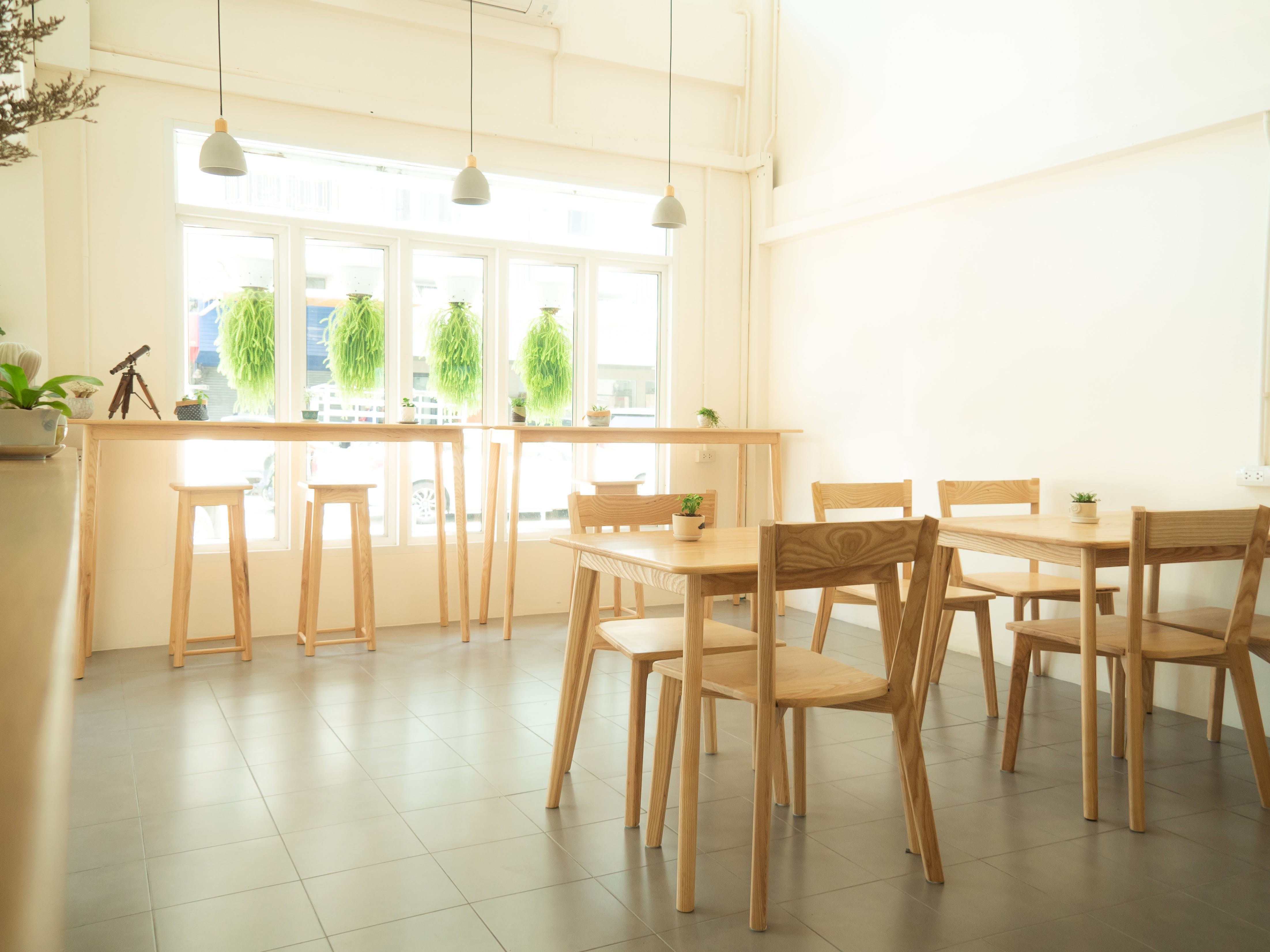 Free stock photo of coffee shop, interior, shop windows, wooden chair