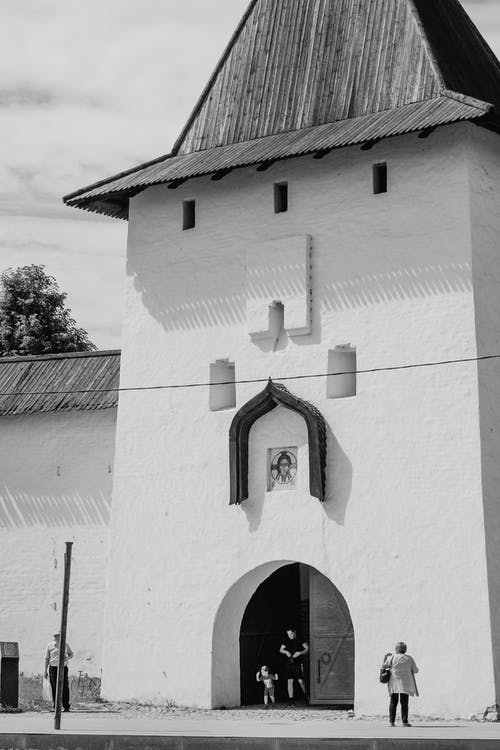 An Entranceto a Temple in Back and White