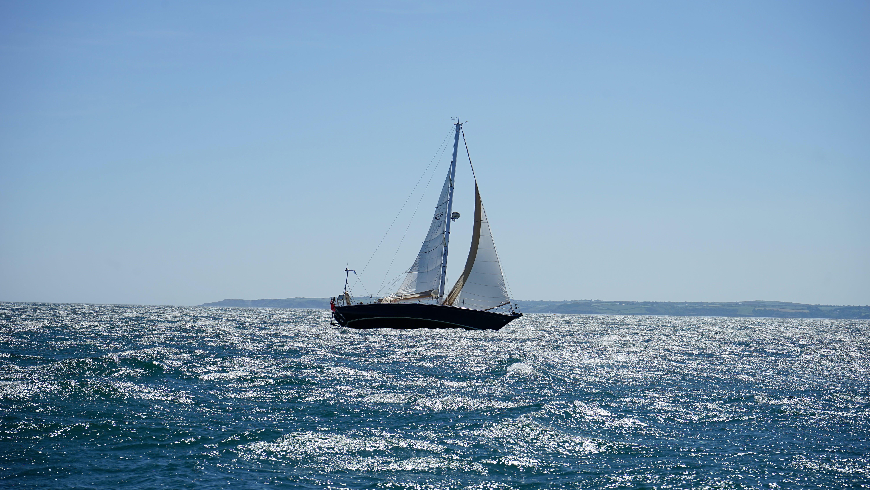 båd, blå, bølger
