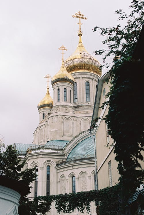 Church Exterior with Golden Domes