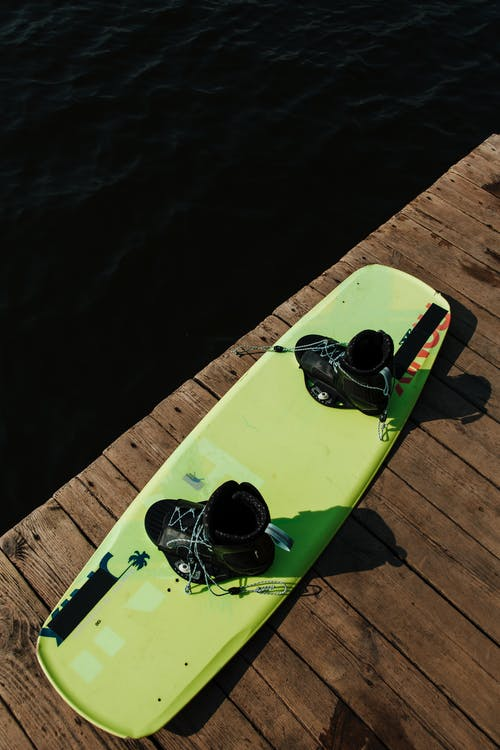 Green Wakeboard on Jetty