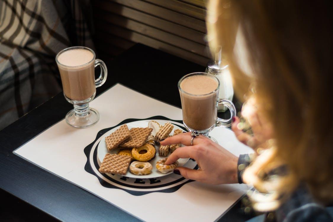 hånd, kaffe, mat