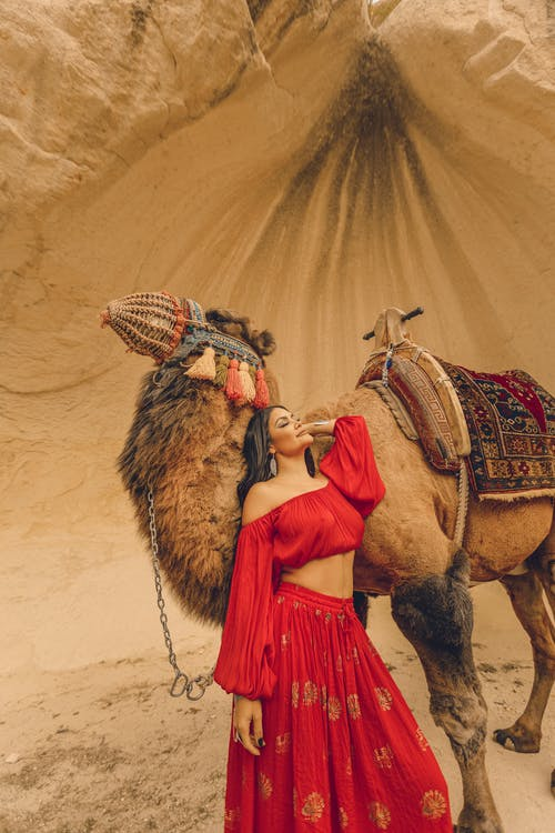 Woman in Red Dress with Camel