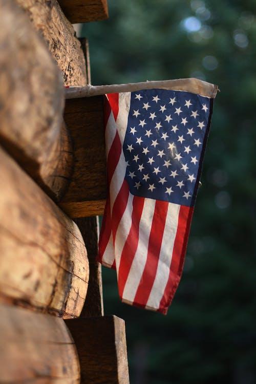 Us a Flag on Brown Wooden Log