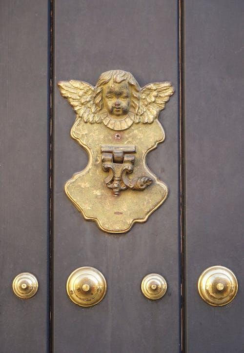 Free stock photo of angel, brass, door