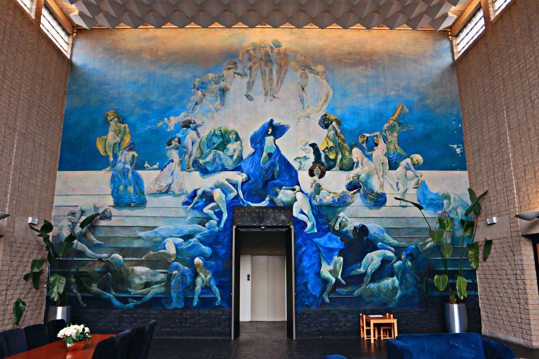 Kostenloses Stock Foto zu architekt, farbe blau, innere, kunst