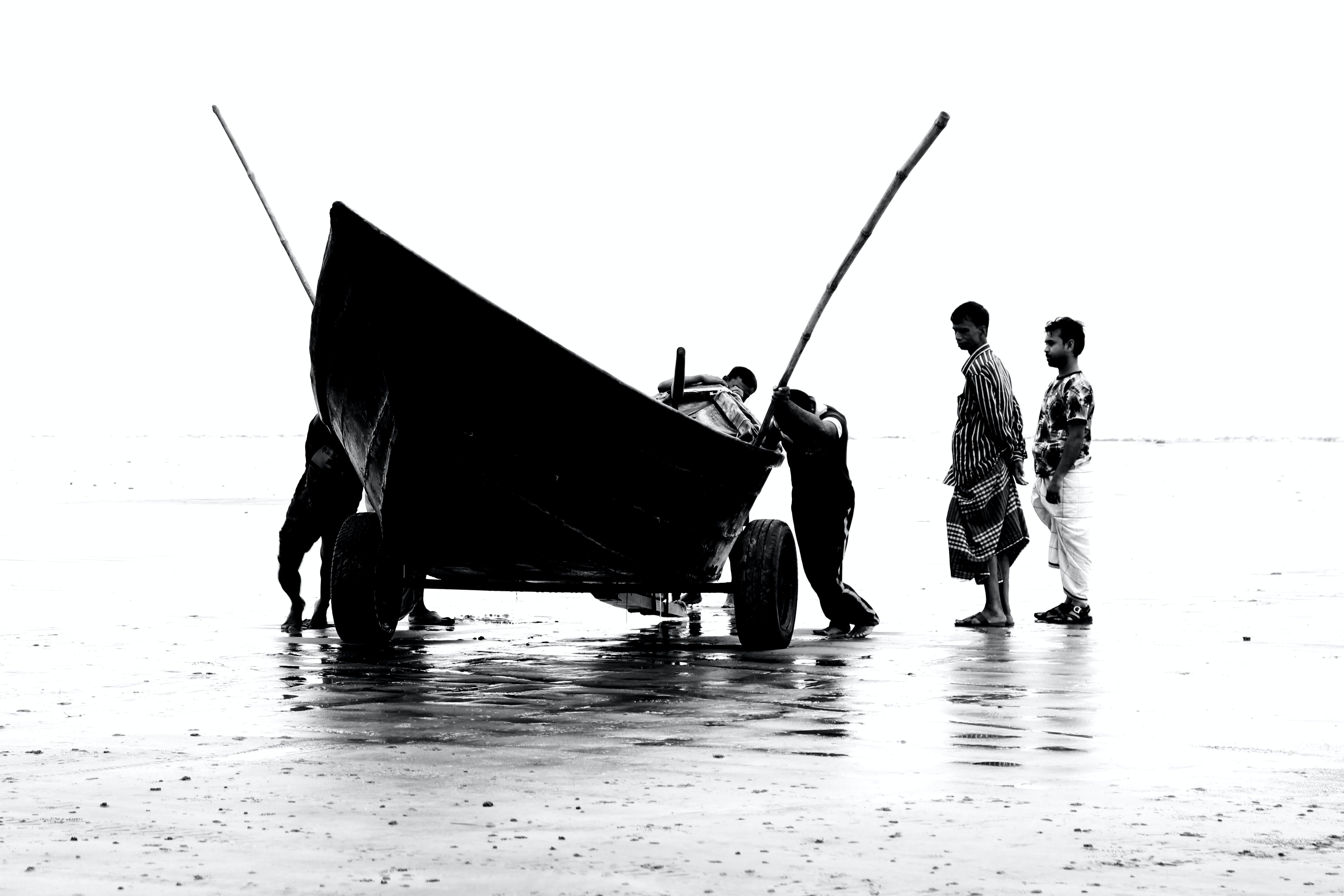 Black Outboard Boat