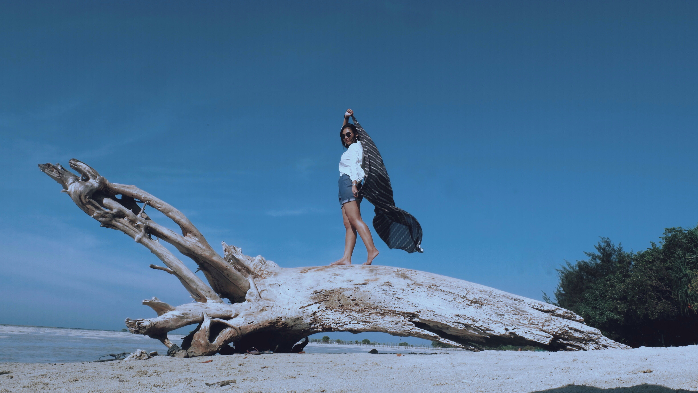 Woman at Top of Tree Trunk Near Beach