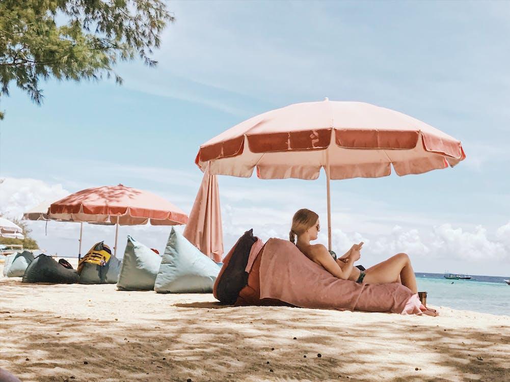 mensch, strand, urlaub