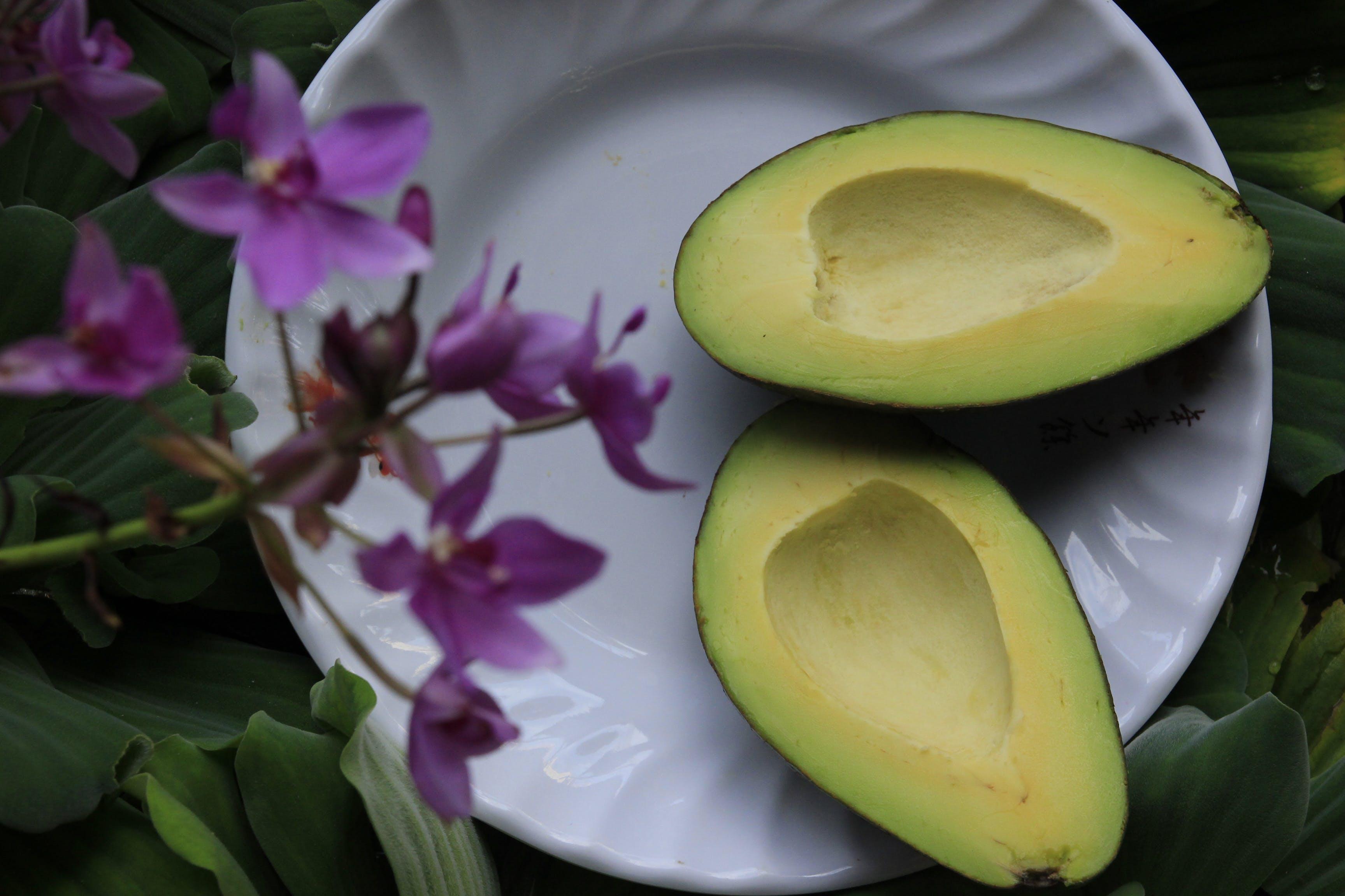 Sliced Avocado on White Ceramic Plate