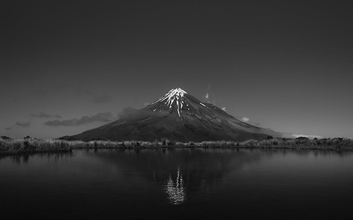 Grayscale Photo of Volcano
