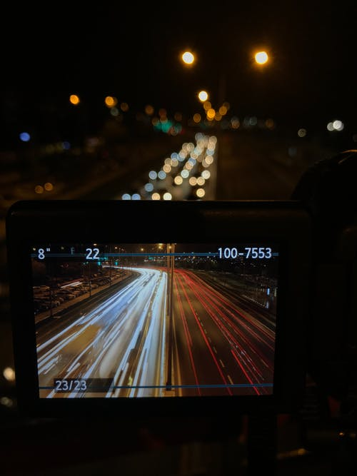 Free stock photo of camera, canon, car lights, city life